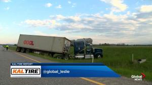 Crash on Highway 1 west of Highway 22 near Cochrane
